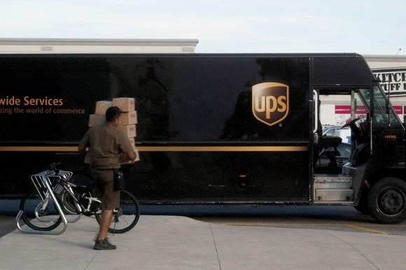 UPS driver and van