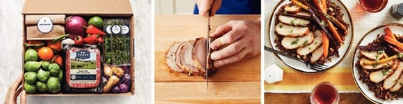 A three-panel guide to making a Blue Apron chicken dish