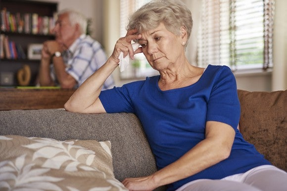senior woman stressed worried couple