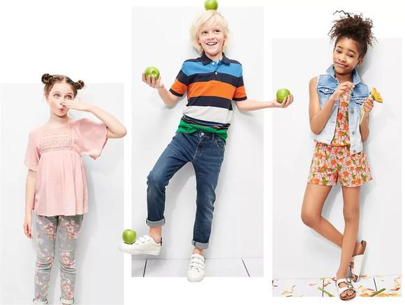 Kids wearing Gap apparel.
