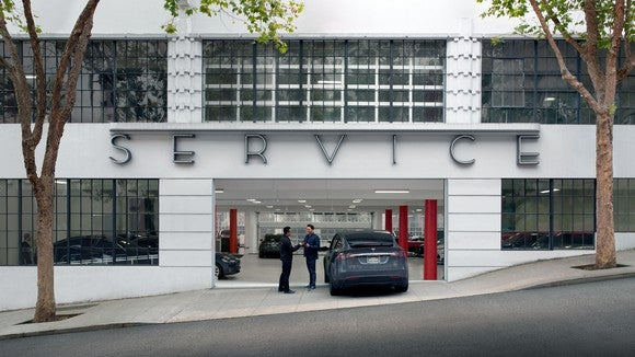 Tesla service center entrance.