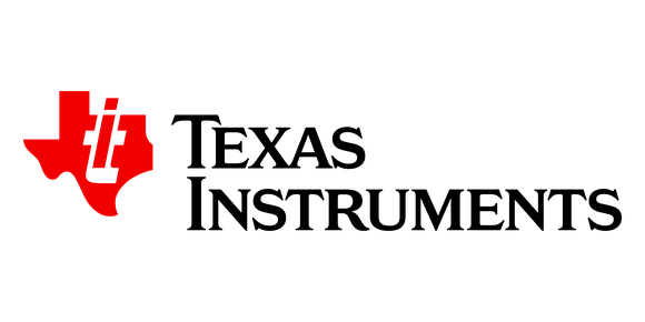 Red version of Texas Instruments' logo in the shape of a Texas map, next to the company name.