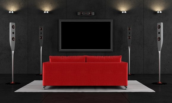 Red and black home theater setup