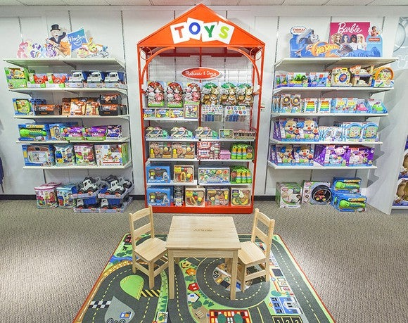 A mock-up of a J.C. Penney toy section
