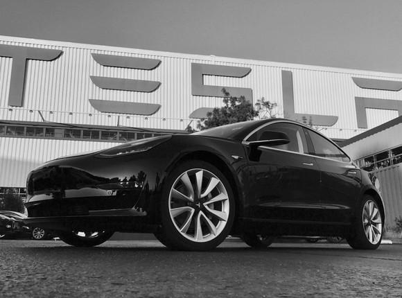 Final version of Tesla's Model 3 outside of Tesla's factory.