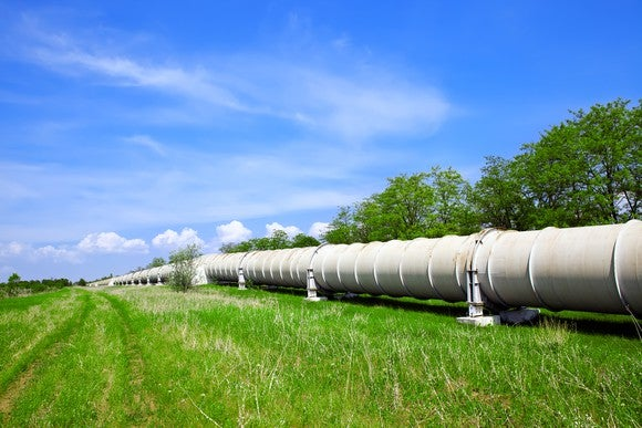 A pipeline stretches into the distance.