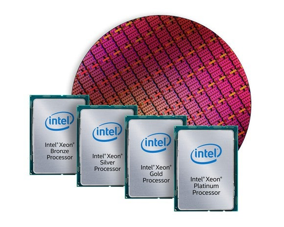 Intel's Xeon Scalable processors in front of a wafer.