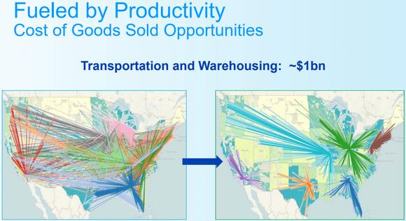 U.S. maps showing more efficient P&G transportation routes
