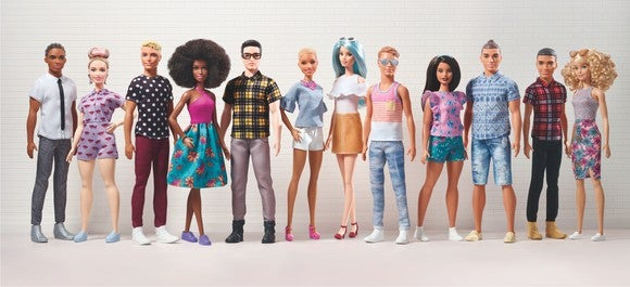 12 dolls representing a diverse segment of the population with a variety body types, hairstyles, and attire.