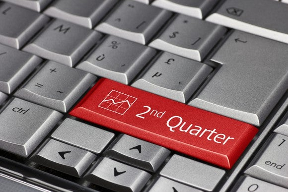 "On a gray computer keyboard sits a red button labeled ""2nd Quarter,"" with a picture of a graph on it."