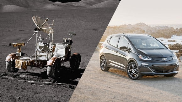 A split image showing the original Lunar Rover from 1971 on the left, and a Chevrolet Bolt EV on the right.