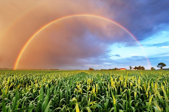 A rainbow appears over a field and against a cloudy sky.