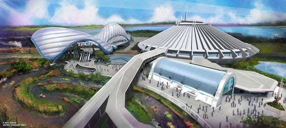 The upcoming Tron coaster adjacent to Space Mountain.