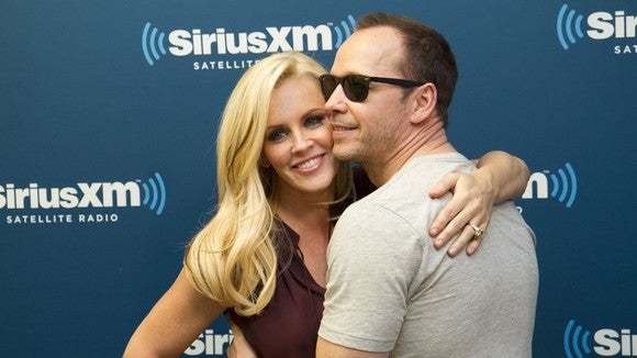 Jenny and Donnie Wahlberg at a Sirius XM Town Hall.