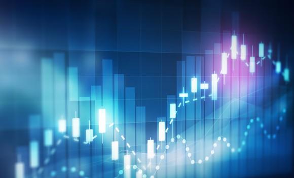 Stock chart graphic.