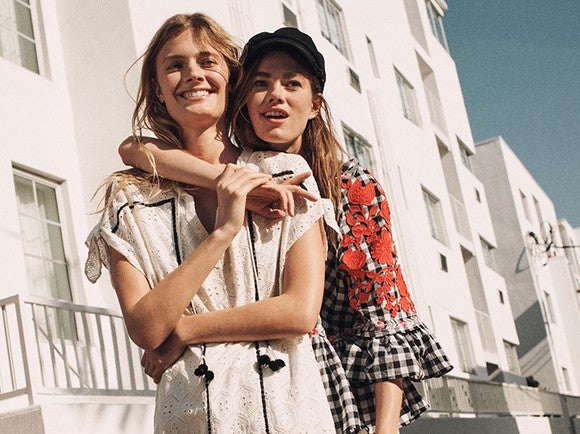 Two women in an Anthropologie ad