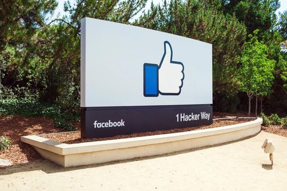 Facebook's thumbs-up sign at 1 Hacker Way.