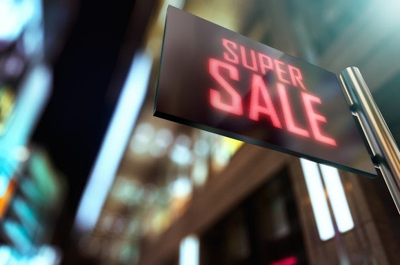 An LED sign that suggests a super sale on stocks.