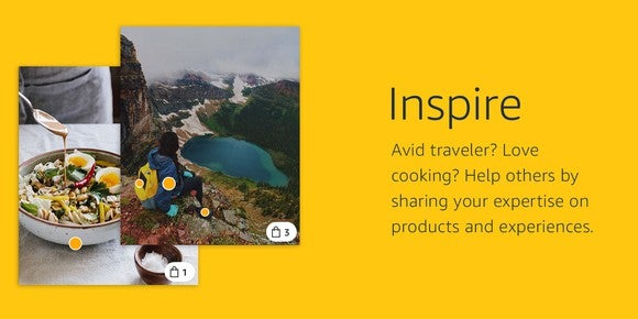 A description from Amazon Spark showing images of food and travel.