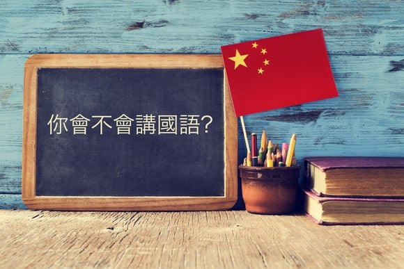 A chalkboard with Chinese characters written on it next to a Chinese flag.