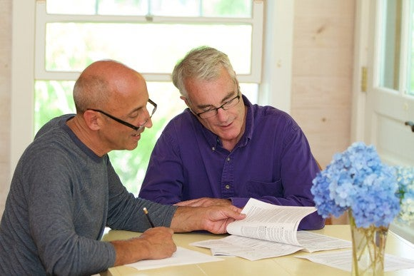 Senior couple looking at documents together
