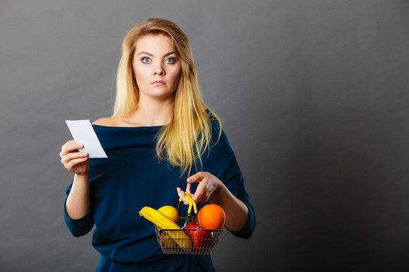 Shocked woman holding small basket of produce and receipt