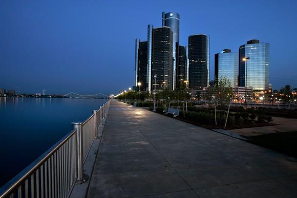 Detroit skyline at night, showing GM Renaissance Center headquarters