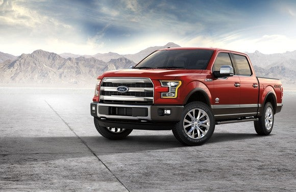 2017 Ford F-150 King Ranch pickup in red.