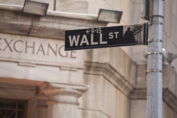 Stock Exchange with Wall Street sign