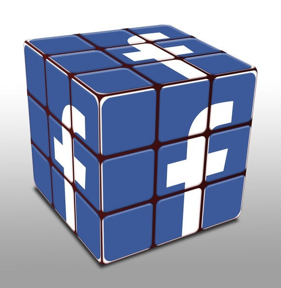 "An all-blue Rubik's Cube, with the Facebook ""f"" logo on every side."
