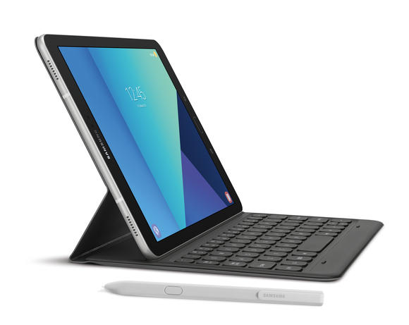 A Samsung tablet with an attached keyboard and a stylus next to it.