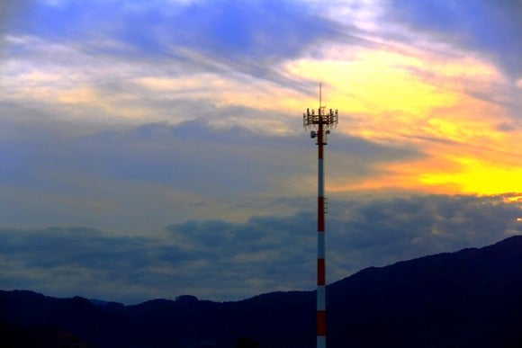 Cell tower at sunset.