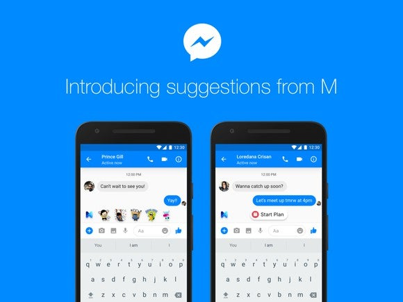 """Image of Messenger app and text reading """"Introducing suggestions from M""""."""