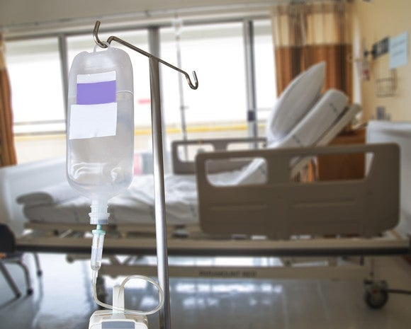 IV bag next to a hospital bed