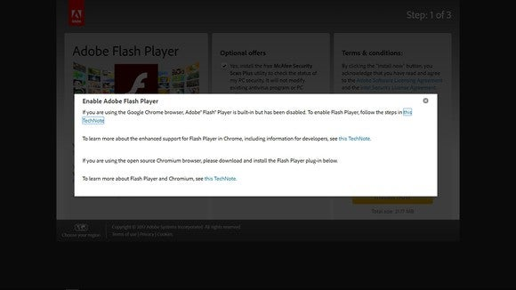 The Adobe Flash web page displays a prompt to enable Flash Player.