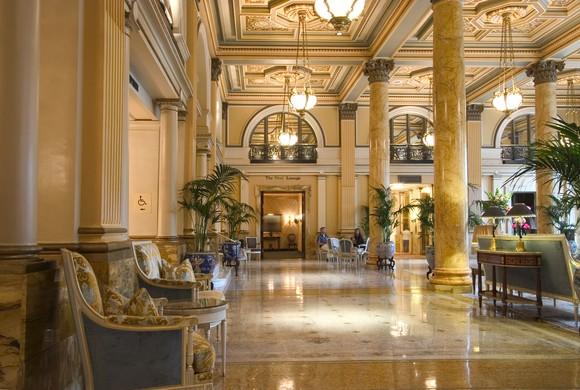 Entrance lobby of a luxurious hotel.
