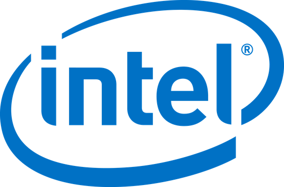 The classic Intel logo, blue on white.