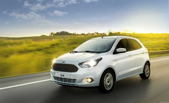 A 2017 Ford Ka hatchback, as sold in Brazil and other South American markets.