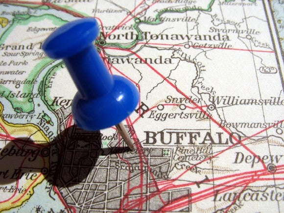 Map with pin in Buffalo, New York.
