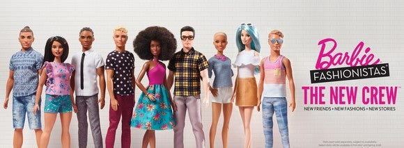 New line of Barbie and Ken Fashionistas dolls featuring a variety of body types, skin tones and outfits.