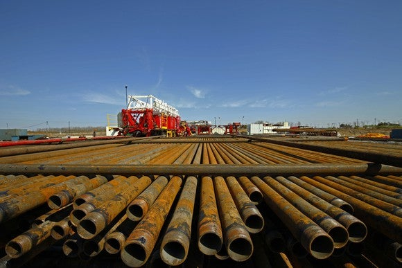 Piping equipment ready for shale oil and gas drilling.