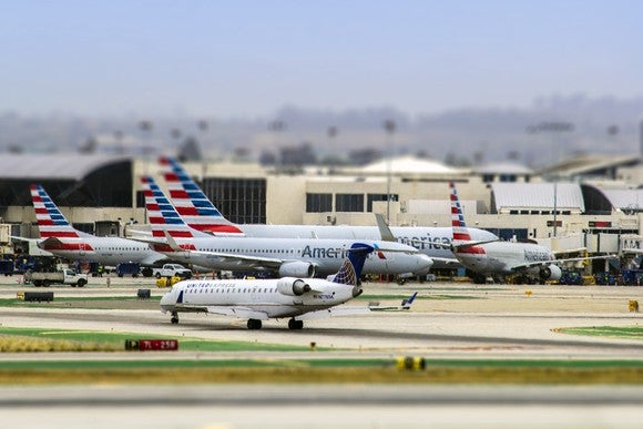 American Airlines and United Airlines planes on the ground