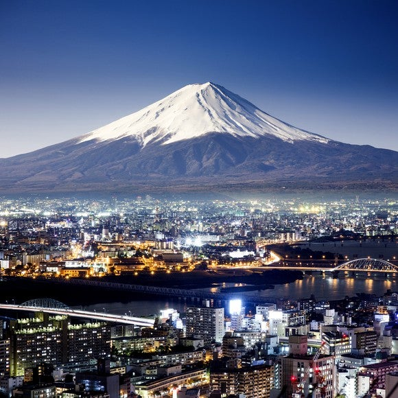 Japanese city landscape with Mt. Fuji in background