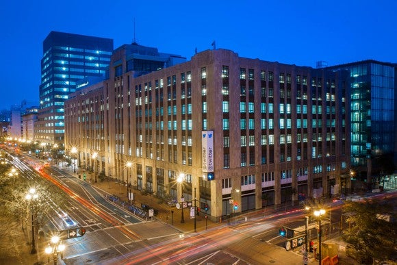 Exterior of Twitter's headquarters at night.