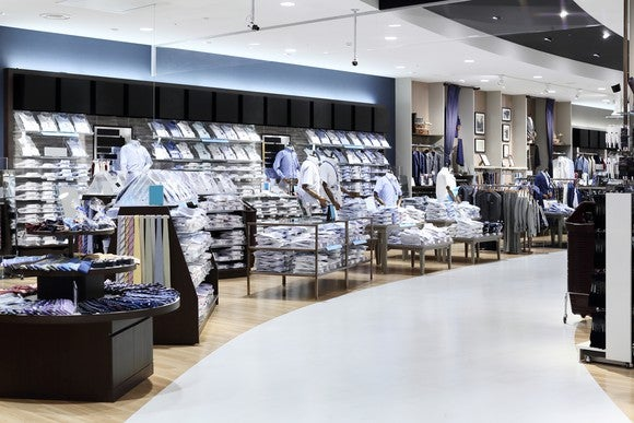 A men's section in a department store