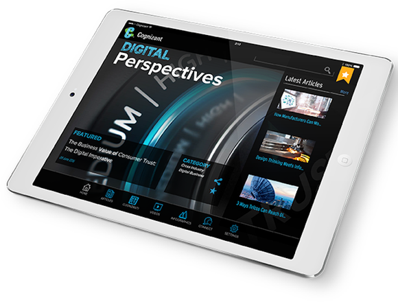Cognizant's app displayed on a tablet