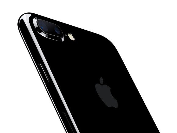 Apple's iPhone 7 Plus in a Jet Black finish.