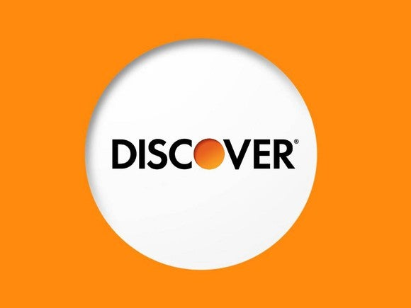 """Discover"" name and logo surrounded by orange rectangle."