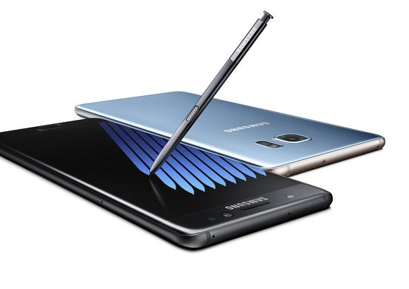 The Samsung Galaxy Note7 in both upward and downward facing positions.