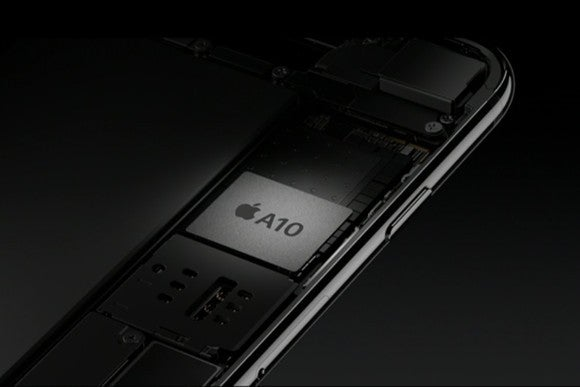 Apple's A10 Fusion chip sitting inside of an iPhone.